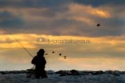 <h5>Kalamies etsii apajaa</h5><p>Auringonlaskun aikaan mies etsii uutta kala-apajaa rannalla kahlaten. Tunnus: img_7362</p>