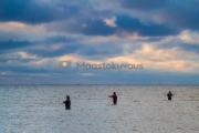 <h5>Miehet kalastavat</h5><p>Miehet ovat kahlanneet syvän veden reunalle meritaimenta tavoittelemaan. Tunnus: img_7328</p>