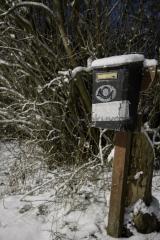 <h5>Vanha postilaatikko</h5><p>Postilaatikko odottaa aamuvarhaisella täydennystä. Tunnus: img_8130</p>