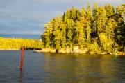 <h5>Villingin salmi syksyllä</h5><p>Illan viimeiset auringon säteen osuvat syyskuisen illan aikana Villingin salmen ruskan värittämään metsään. Tunnus: img_5401</p>